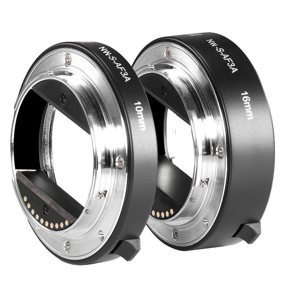 Noir Métal AF Auto-focus Tube Extension Macro Set 10mm et 16mm pour Sony NEX e-mount Caméra NEX 3/3N/5/5N et Plein Cadre A7 A7S/Un