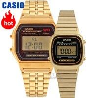 Часы Casio Analogue Мужские и женские кварцевые спортивные часы Винтаж золотой квадрат пара смотреть
