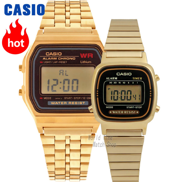 3c092c6c7 Casio watch Analogue Men's and Women's Quartz Sports Watch Vintage golden  square couple watch