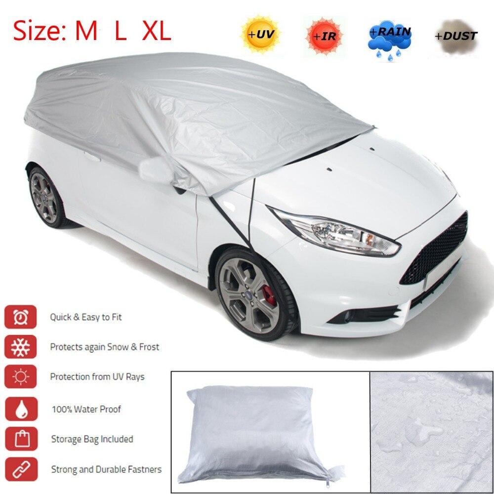 サンシェード予防太陽雨雪半分車のカバーアルミシルバーシェードバイザーサイズ M L XL -