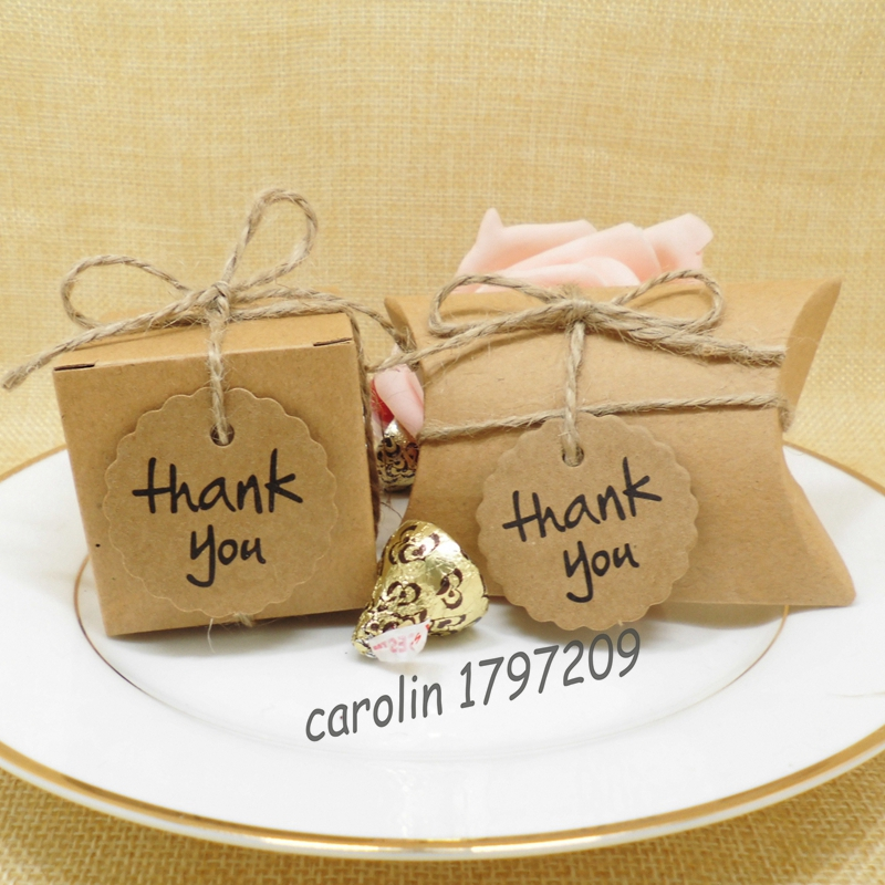 Thank You Gifts At Weddings: 50pcs/lot Kraft Paper Wedding Candy Box With Thank You Tag