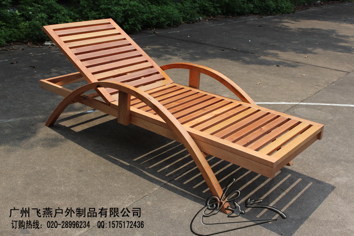 Mediterranean Thick Wooden Folding Deck Chair High End Outdoor Leisure Pool Lounger Chaise Lounge Beach Chairs