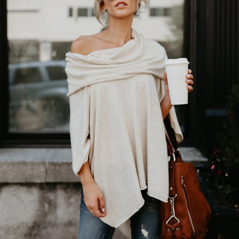 EFINNY Women Sexy French Cashmere T-shirt Slash Neck Off Shoulder Tops Long Sleeve Casual Loose Shirt XXL