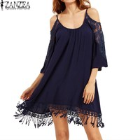 2017 ZANZEA Women Summer Off Shoulder Spaghetti Straps Lace Crochet Hollow Out Party Beach Mini Dress