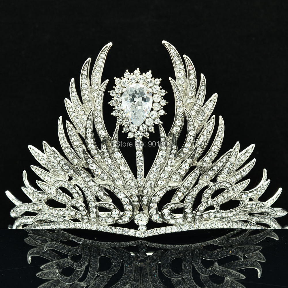 Free Shipping Flower Tiara Crown for Bridal Wedding Jewelry Accessories with Clear Austrian Rhinestone Crystals SHA8630