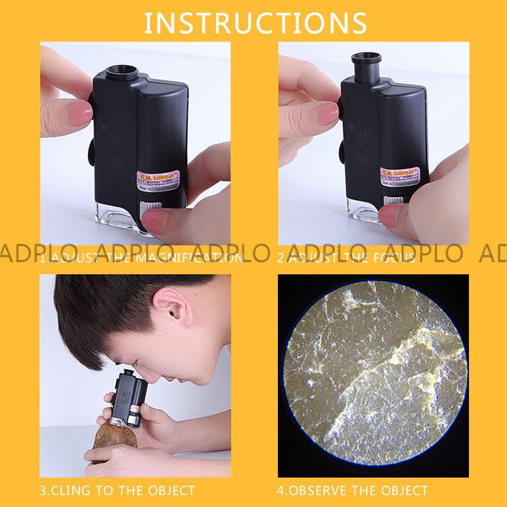 Lighthouse 60x-100x Magnification Black Pocket Size Zoom Microscope w// LED Light