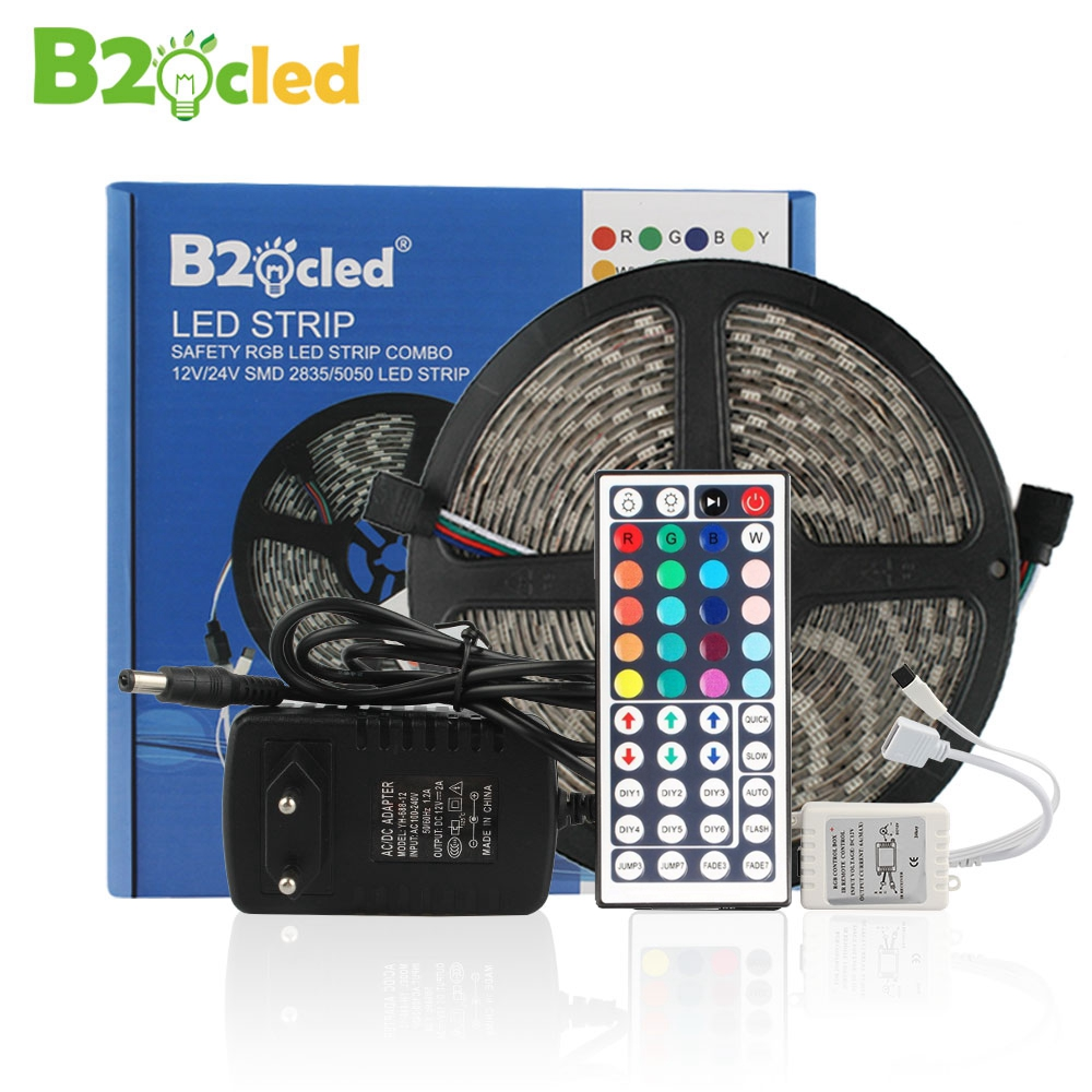 цена на LED strip light 12V 5m SMD5050 2835 waterproof IP65 RGB flexible LED light tape lamp with adapter plug 3A 2A 44key IR Controller