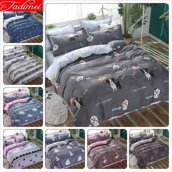 Cute Animal Dog Pattern Quilt Comforter Duvet Cover 3/4 pcs Bedding Set Adult Kids Child Bed Linen Single Double Queen King Size