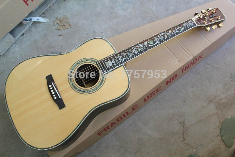 custom guitar factory 2017 new Top Quality Custom 45S Classic Acoustic Dreadnought Guitar Solid spruce life tree inlay fret 111 musiclily 3ply pvc outline pickguard for fenderstrat st guitar custom