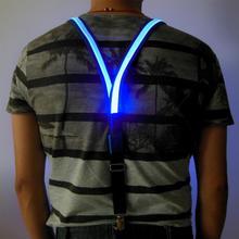Novelty Fashion Suspenders Clip-on LED Light Glitter Night Cycling New Unisex Adult Elastic Y-back Adjustable Braces Suspenders