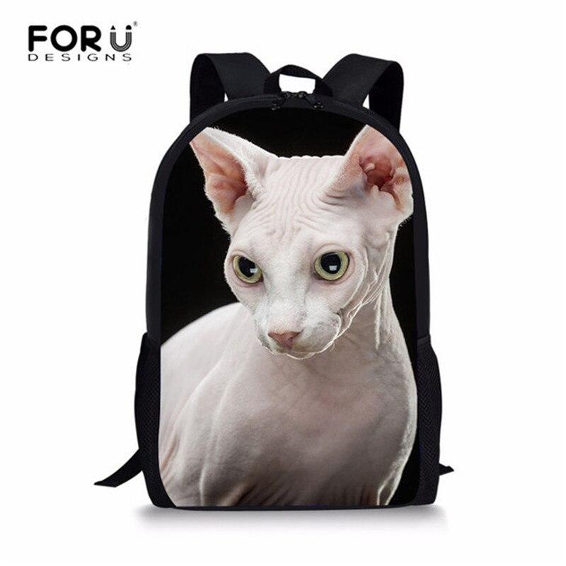 FORUDESIGNS Canadina Hairless Cat School Bags for Girls New 2018 Orthopedic Backpack Big Capacity Kids Primary Schoolbag Satchel