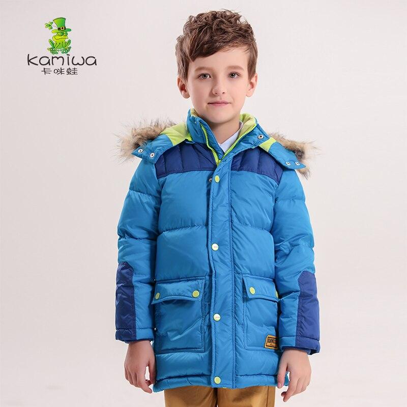 ФОТО KAMIWA 2017 Boys Winter Coats And Jackets Cotton-padded Medium-Long Wadded Warm Parkas Children's Clothing Kids Clothes