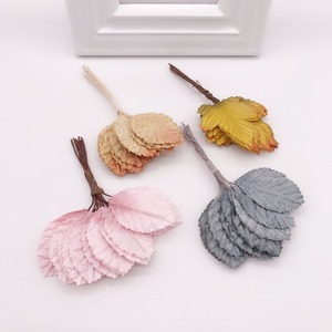 12pcs 4cm Silk Leaf Shaped Handmade Fleurs Scrapbooking Artificial Flower For DIY Wedding Home Decoration Needlework Accessories(China)
