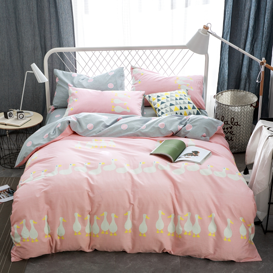 Bed sheets with price - Cute Pink Duvet Cover Set With Duck Pattern 100 Cotton Grey Bed Sheets Pillow
