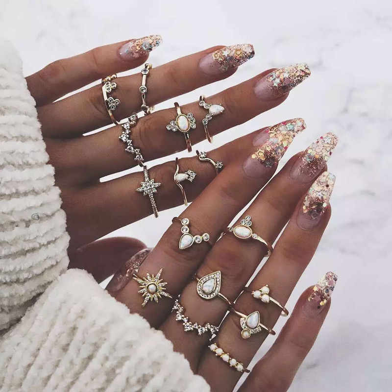 16Pcs/set Bohemian National Fashion Retro Water Drop Beauty Head Gold Cross Patterned Lady Vintage Loving Charm Joint Ring Set