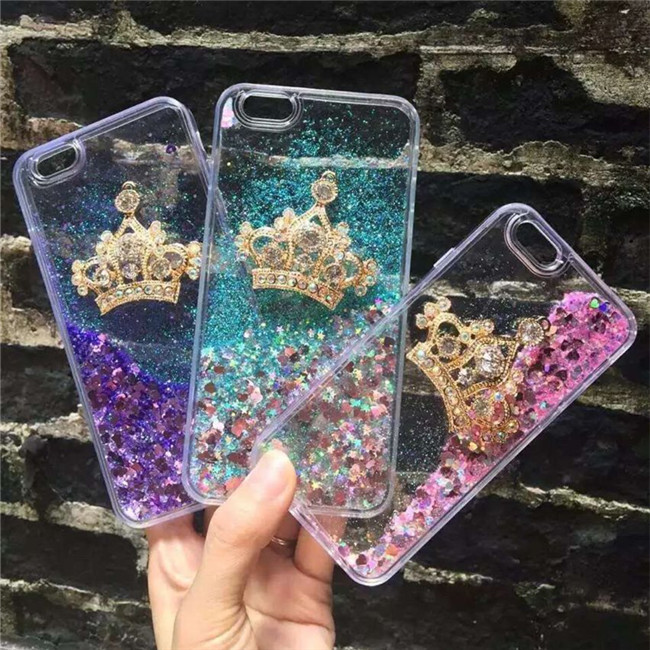 new fashion bling rhinestone crown phone cases for iphone x 5 5s se 6 6s 7 8 plus liquid. Black Bedroom Furniture Sets. Home Design Ideas