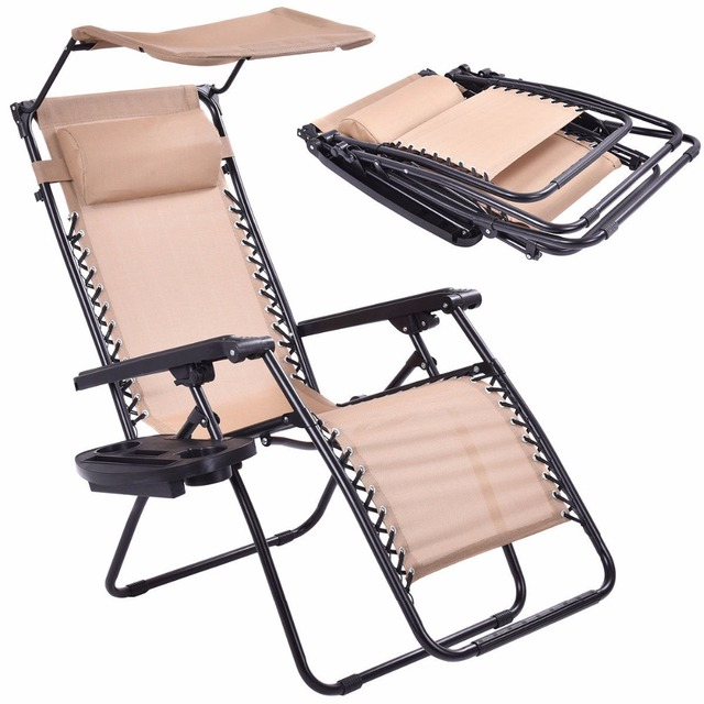 Beige Folding Recliner Zero Gravity Lounge Chair With Shade Canopy U0026Cup  Holder OP3025BE