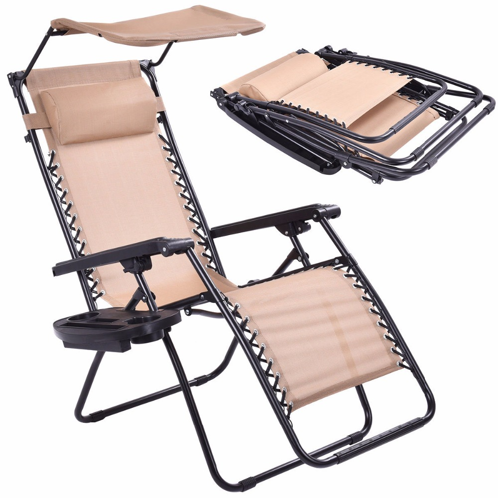 Beach lounge chairs - Beige Folding Recliner Zero Gravity Lounge Chair With Shade Canopy Cup Holder Op3025be