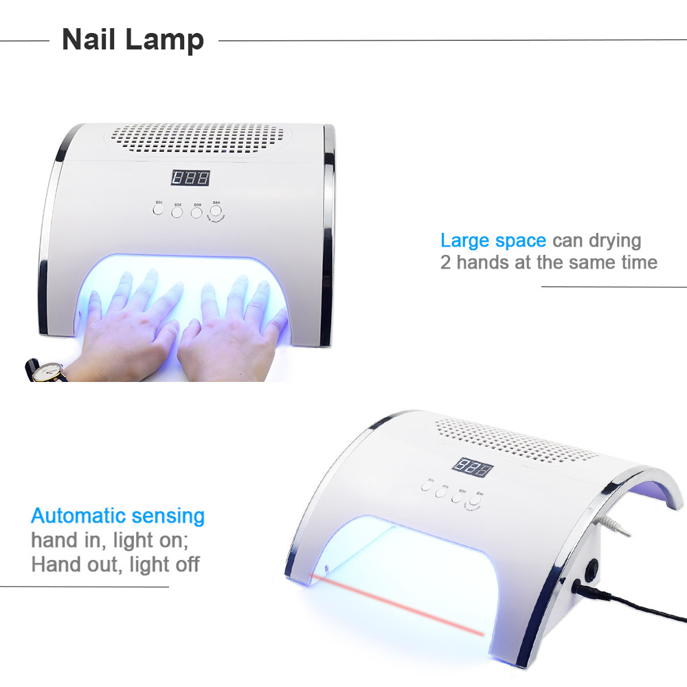 80W 2-IN-1 Nail Lamp with Auto sensor Nail Dryer & Powerful Nail Dust Collector Cleaner Family Private Nail Salon Manicure Tool