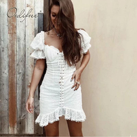 Ordifree 2019 Summer Women White Mini Dress Embroidery Cotton Sexy Lace Up Sexy Bodycon Party Dress