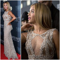 2014 Red Carpet Dress tripulação prata Beads / lantejoulas / flores artificiais sereia Beyonce Celebrity Dresses