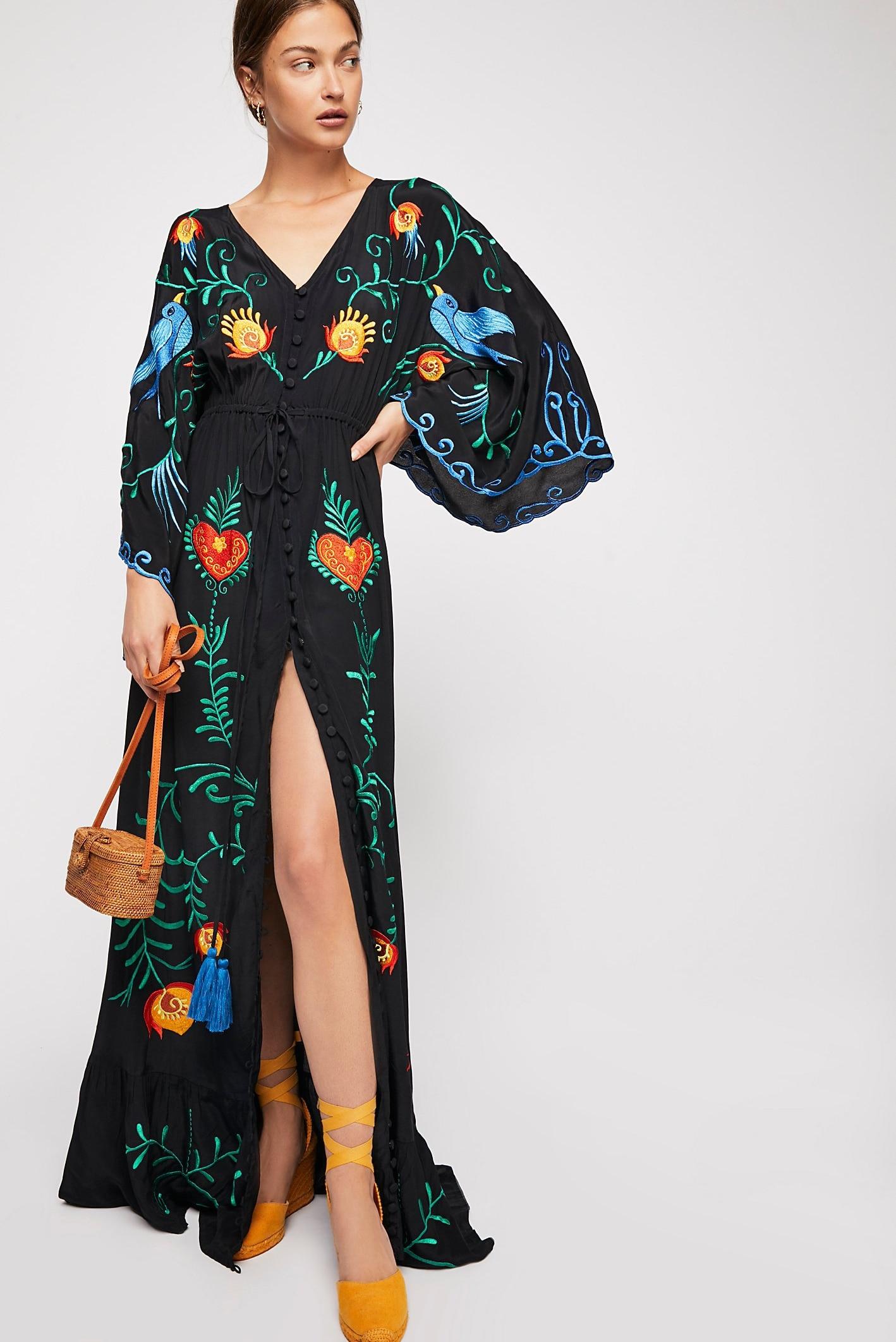 7f7656c975124d Jastie 2018 Spring Autumn Women Dress Loose Casual Kimono Dresses Floral  embroidered Maxi Dress Boho Ruffle Hem Beach Dresses