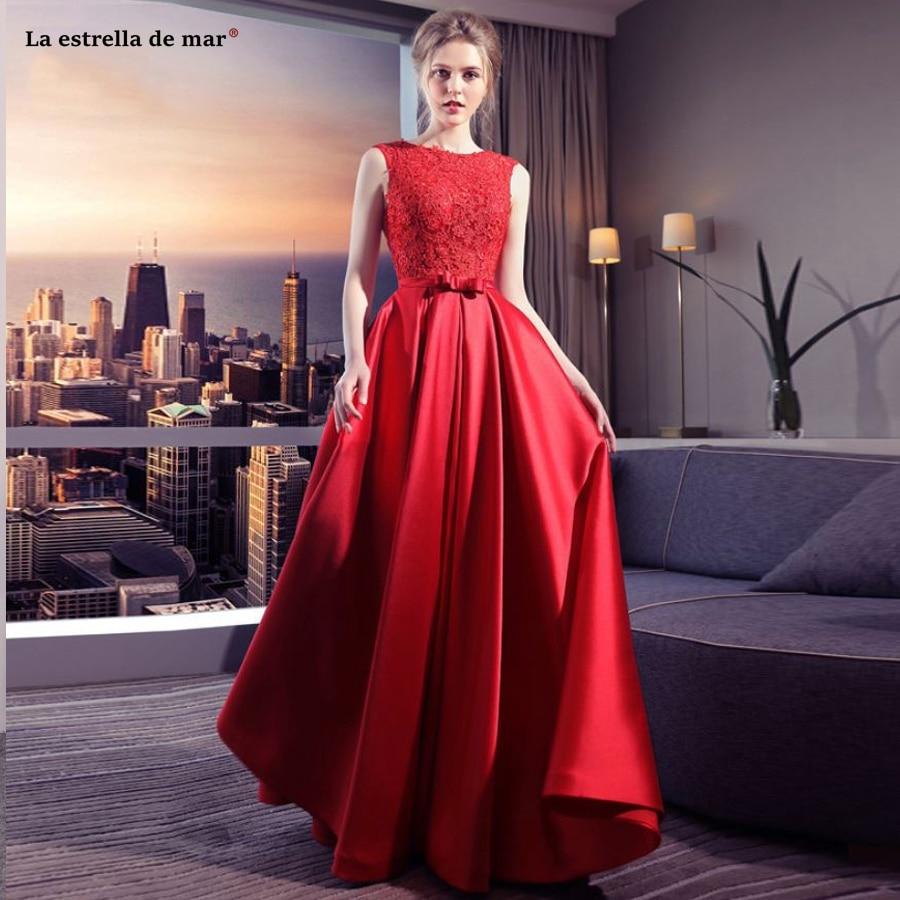 Robe demoiselle d'honneur new Scoop neck lace satin halter A line red bridsmaid dresses long vestido boda mujer invitada