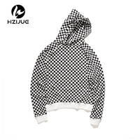 HZIJUE 2017 TOP NEW Justin Bieber checkerboard lattice men Pullover Hoodies hiphop Fashion Casual black Sweatshirts M XL