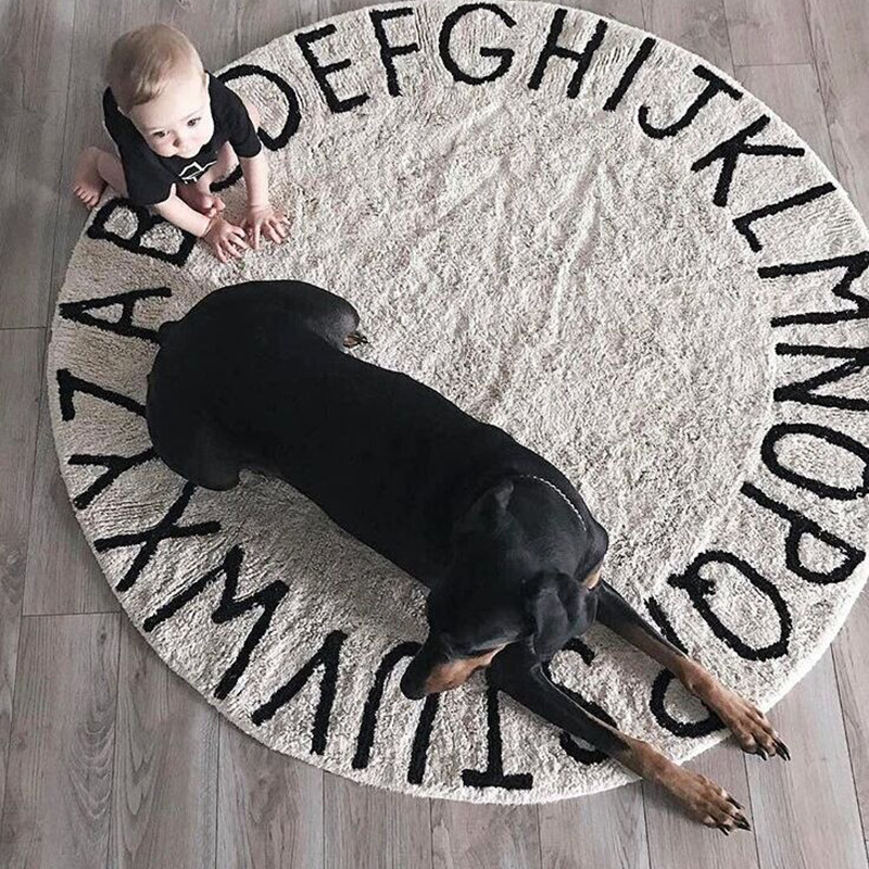 INS High Quality 100% cotton White Round ABC RUG And Pink Mat Letter Mat Play mat tapete carpet Children's Room home decoration fondovalle rug home inserto rosone 60x60