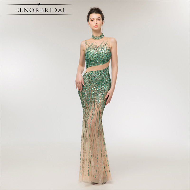 Real Pictures Luxury Mermaid Dubai   Evening     Dresses   2018 Beading Crystal Kaftan Women Occasion   Dress   Formal Robe De Mariee