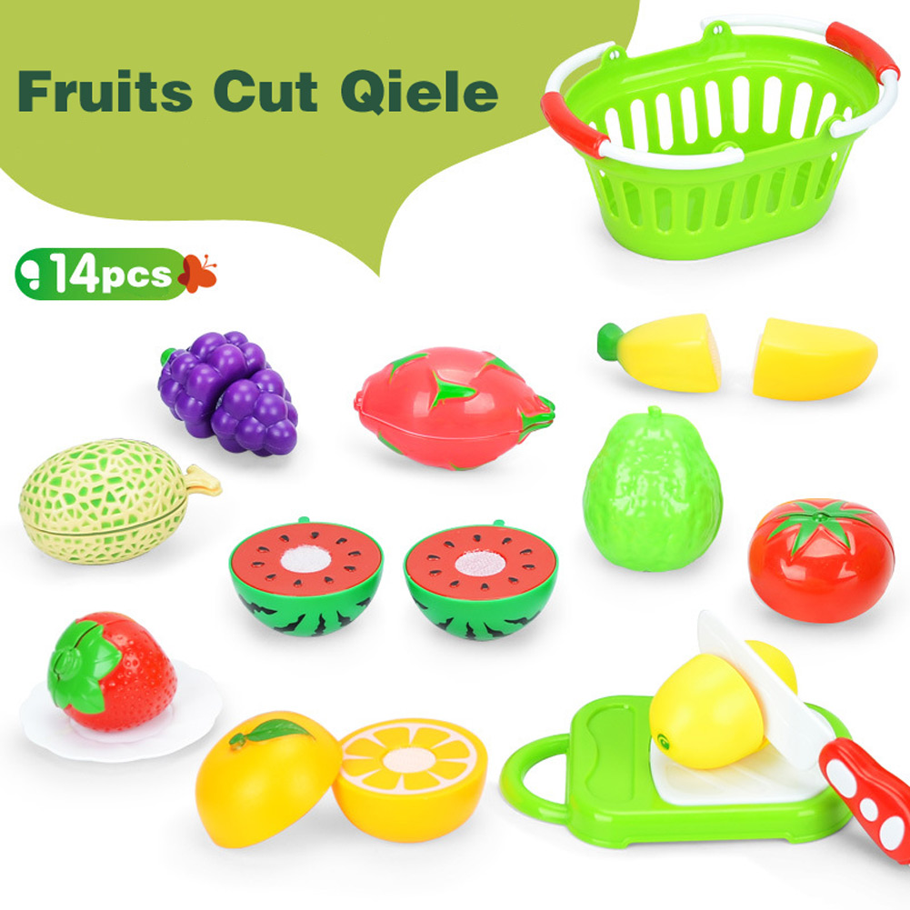2018 New 14 Pcs/Set Baby Fruit Vegetable Toys Kids Pretend Role Play Fruit Vegetable Food Toy Cutting Set 88