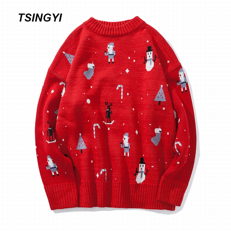 Tsingyi Winter Autumn Pullover Man Unisex Women Christmas Sweater Brand Knitted Loose Cashmere Sweater Men Camisola Homem Tops