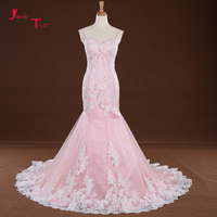 Jark Tozr Custom Made Spaghetti Straps Lace Up Ivory Appliques Beading Sequin Pink Mermaid Wedding Dress