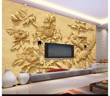 Free shopping 2015 New non-woven Upscale peony setting wall reliefs wallpaper