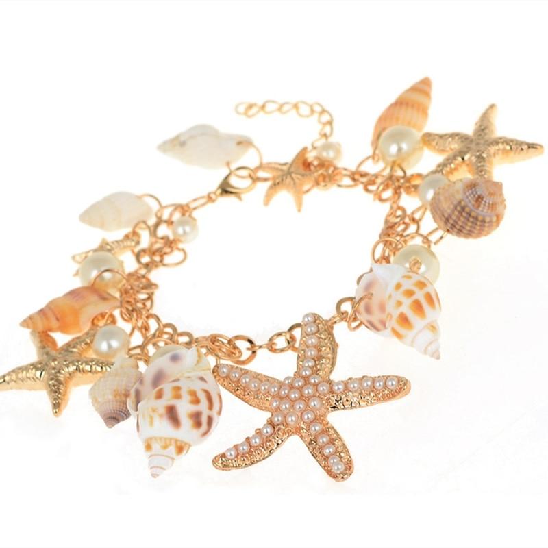 Braclet 1 Piece Mediterranean style DIY Fashion Beach Mixed Seashells Mix Sea Shells Crafts for Aquarium Fish travel bracelet