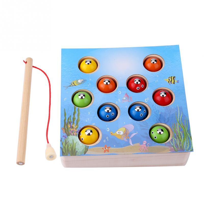 Hot Sale Wooden Magnetic Fishing Toy Set With Box 10Pcs