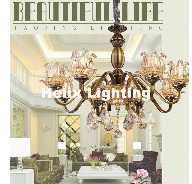 Newly Brass Color Chandelier Lights Iron Frame Copper Light Luxury LED Antique