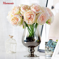 5 Heads Bunch 2017 New Silk Simulation Artificial Flower Peony Flower Bouquet For Wedding Home Decoration