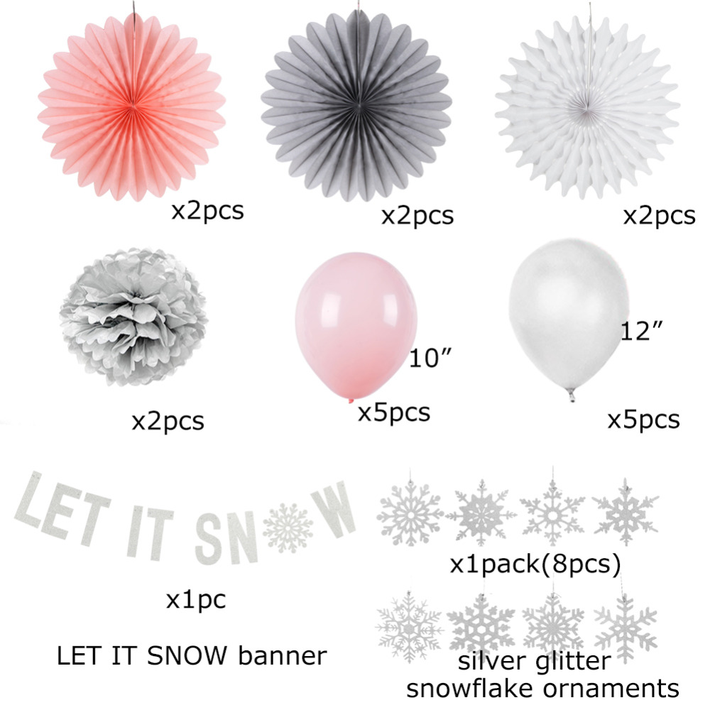 Snowflake Paper Decoration Set Balloons Paper Fans Happy Birthday Banner Let it Snow First Birthday Party Baby Shower Winter in Party DIY Decorations from Home Garden
