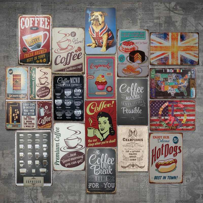 Vintage Metal Tin Sign Poster Plaque Bar Pub Club Cafe Home Plate Wall Decor Art Home Decor Restaurant Coffee Cafe Wall Plaques