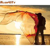RUOPOTY Kiss DIY Painting By Numbers Romantic Modern Wall Art Acrylic Paint On Canvas For Wedding