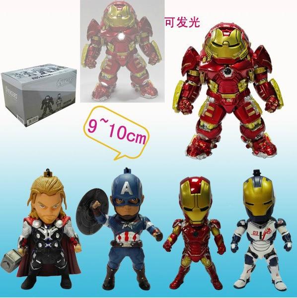 5 יח'\קופסא איש ברזל pvc דמויות פעולת אור אור brinquedos אוסף דמויות צעצועי מתנה לחג המולד עם תיבה הקמעונאי