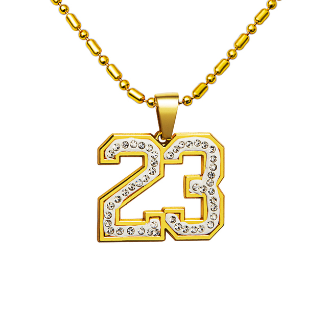 TOP Basketball Superstar Number 23 Bling necklaces Hip Hop Charm Pendants Rock Jewelry Gift Crystal Chains Lindy