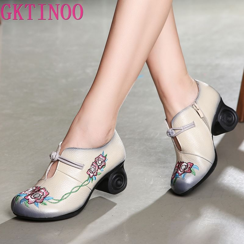 GKTINOO Women Embroidery Pumps Grey Lady 6CM High Heels Shoes Handmade Women Genuine Leather Pumps Autumn