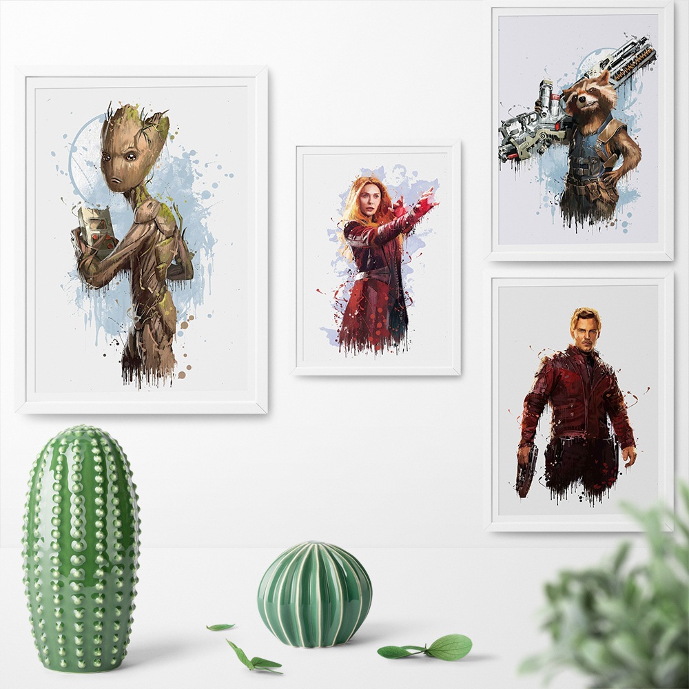 Poster and Print Guardians of the Galaxy Watercolor Superhero Star-Lord Groot Rocket Raccoon Canvas Painting Wall Art Print
