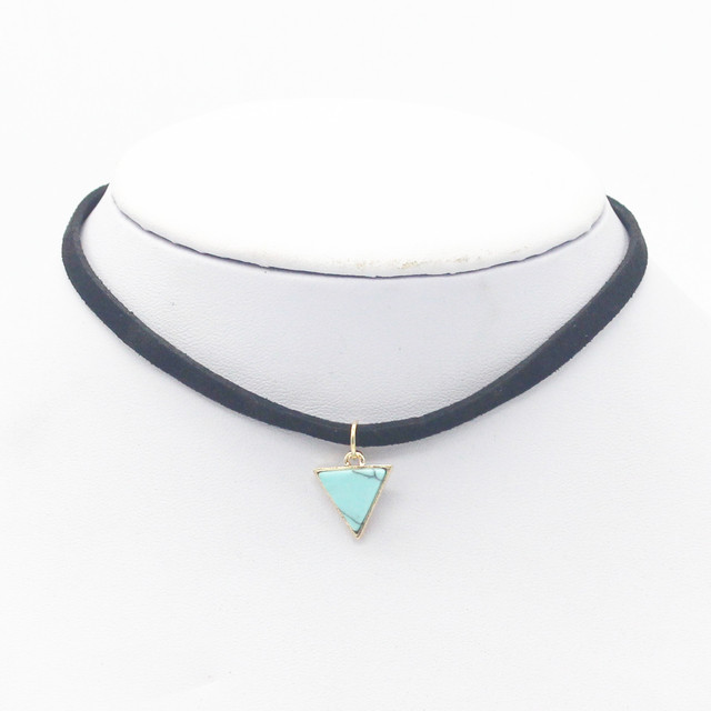 a0439158166 2016 Femme Fashion Jewelry Mujer Bijoux Black Crude Rope TriangleTurquoise  Chain Pendant Necklaces For Women jl-87