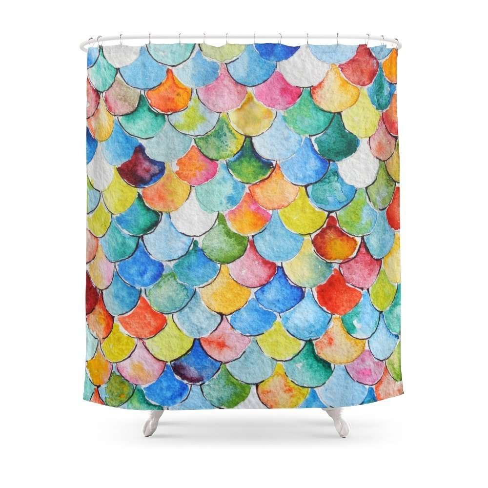 Fish Scales Shower Curtain Custom Curtain For Bathroom Waterproof Polyester