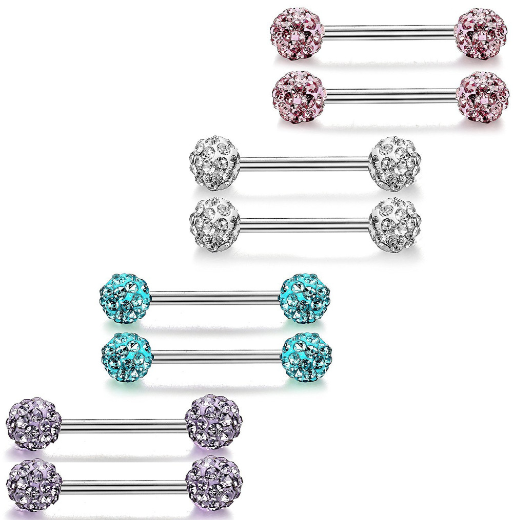 FreshTrends 14G Simulated Turquoise 14K Yellow Gold Straight Barbell Nipple Tongue Piercing