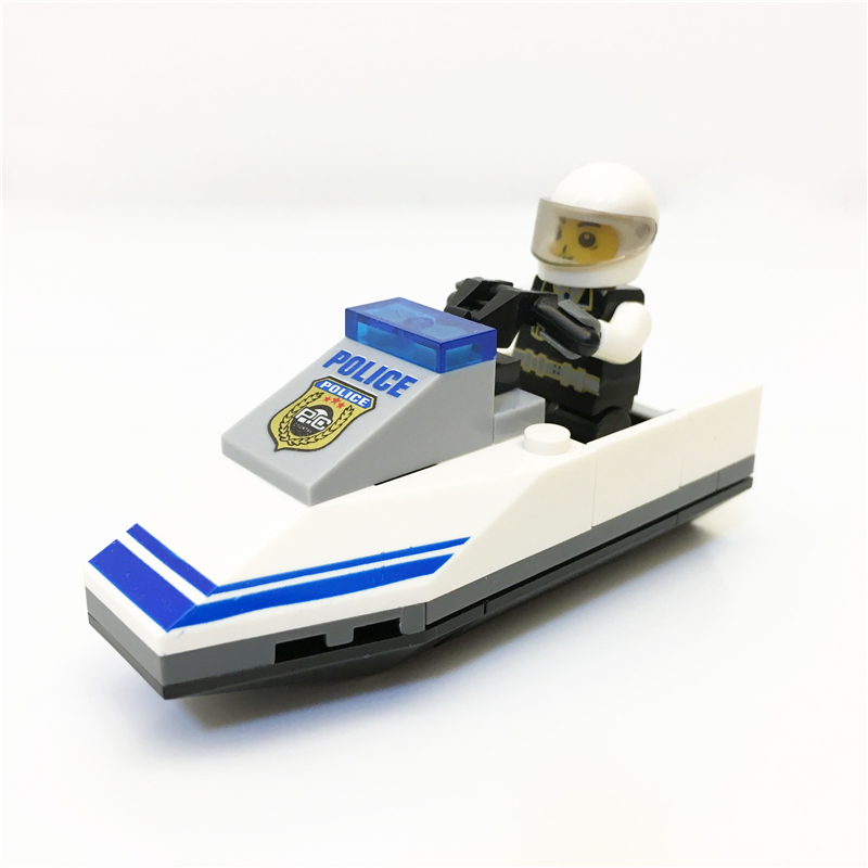 3737 Early 1112 original education police speed boat toys Block Brick ABS Toy racing locomotive car Exploiture blocks 25cm thick