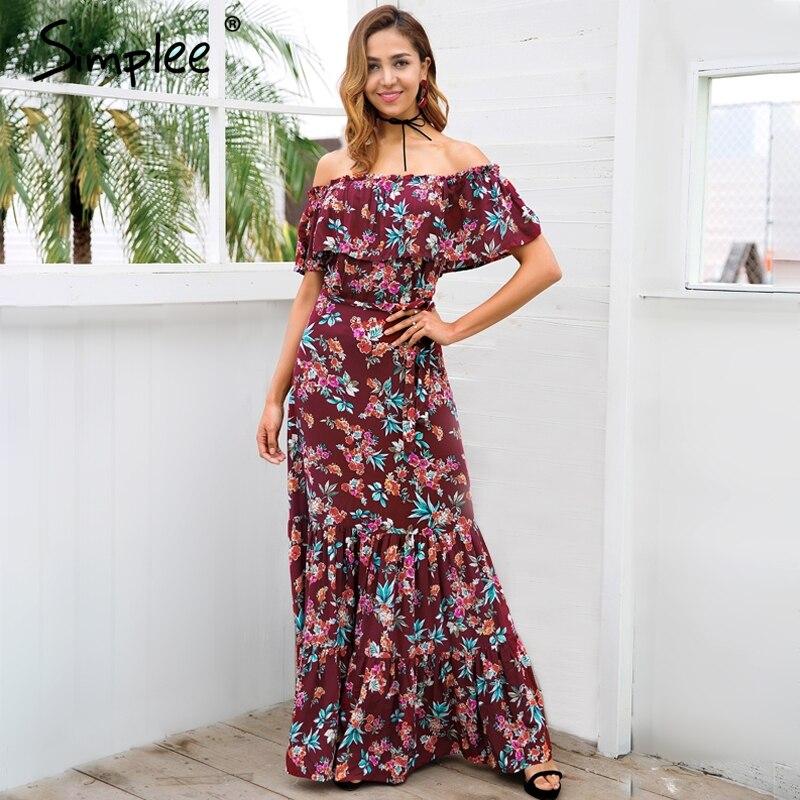 1137 50 De Descuentosimplee De Hombro Estampado Floral Verano Vestido Mujer 2018 Casual Boho Maxi Vestido Primavera Elegante Mujer Vestido Largo